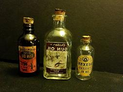 3...Vintage Style Gun Oil Glass Bottles Outer's, Gunslick &