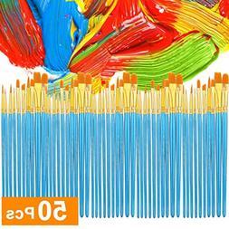 Exteren Acrylic Paint Brush Set 5 Packs/50 Pcs Nylon Hair Br