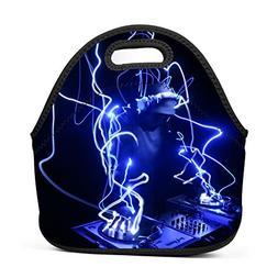 Family Dream Blue Flash DJ Music Rock Lunch Bag Portable Han