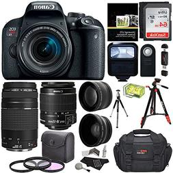 Canon EOS REBEL T7i EF-S 18-55 IS STM Kit, EF 75-300mm III,