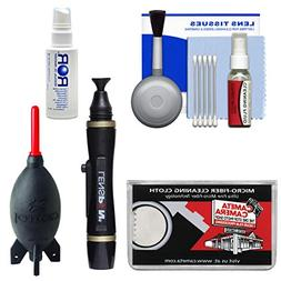 Cleaning Kit Essential Bundle with Blower, Brush, Fluid, Len
