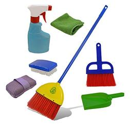 Childrens Cleaning Set- Broom, Dustpan, Mini Sweeper, Spray