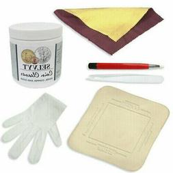 Coin Cleaning Kit Cleaner w/ Polishing Cloths Tweezers Glove