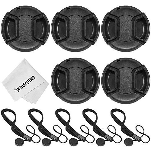 Neewer 5 Center Pinch Lens Cap+5Cap Keeper Leash+Cleaning Cl