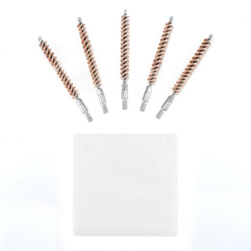 5 Pcs Bronze Bristle Bore Cleaning Cal Thread with 50 Patches