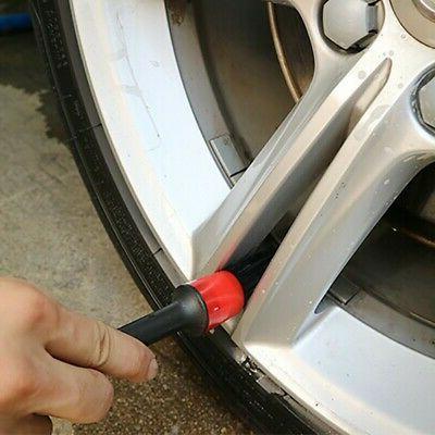 5Pcs Detailing Natural Boar Hair Car Cleaning Brushes Tools