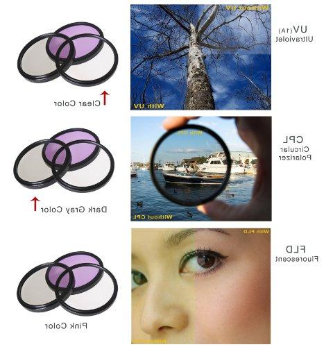 Made by Optics Multi-Threaded 82mm Nw Direct Microfiber Cleaning Cloth. Canon Rebel T5 High Grade Multi-Coated 3 Piece Lens Filter Kit
