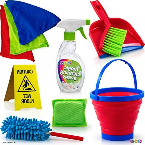 Play22 Kids 12 Piece - Toy Cleaning Set Includes Broom, Mop, Brush, Duster, Sponge, Clothes, Bucket, Caution - Toy Kitchen Set Original