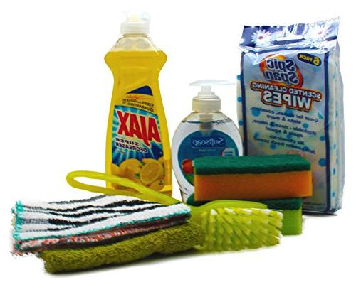dorm room inclusive kitchen cleaning kit ajax sponges softso