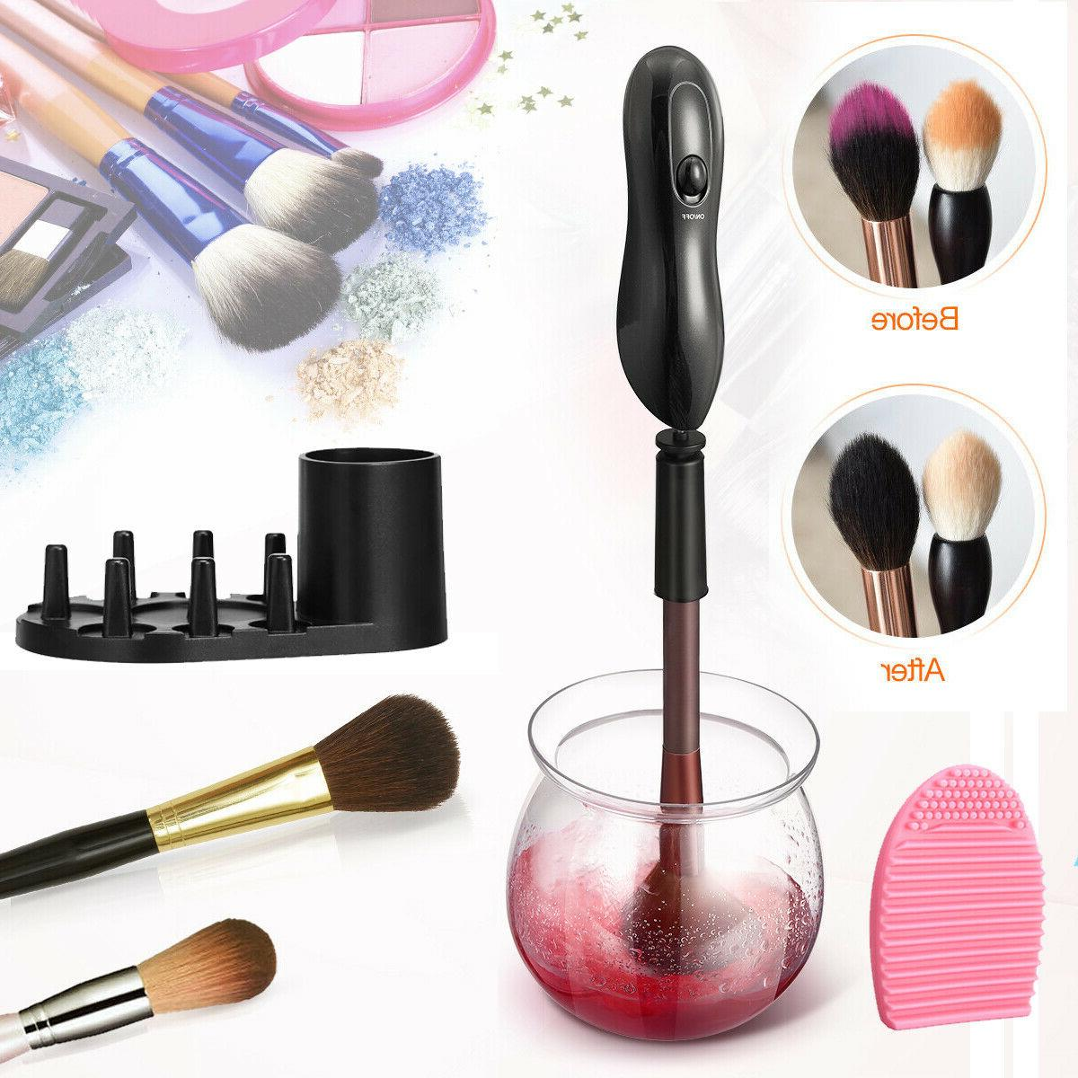 Electric Makeup Brush Set Cosmetic Brush Cleaning Tool Kit US