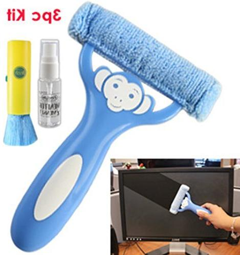 3pc Monitor Monkey Microfiber Screen Cleaning Kit Cloth Keyb