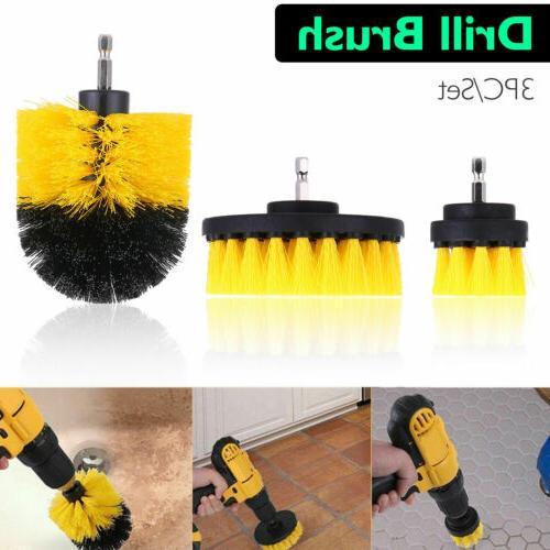 Power Scrubber Drill Brush Set Clean Shower Tile  3 Brushes