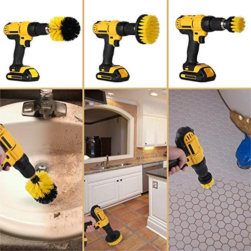 Drill Attachment - Cleaning Kit Purpose Drill Bathroom Surfaces, Grout, Tub, Shower, Kitchen, Automotive, Grill Fits Most