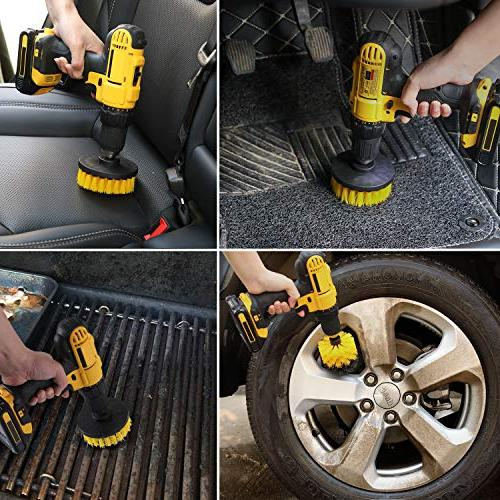 Drill Brush Attachment Set - Power Scrubber Brush Cleaning Kit Bathroom Grout, Floor, Tub, Kitchen, Automotive, Grill Fits Most
