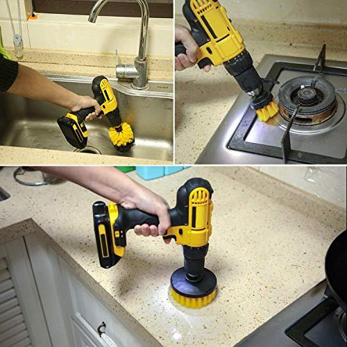 Drill Brush Cleaning Purpose Drill Brush Bathroom Tub, Shower, Tile, Kitchen, Automotive, Fits Most