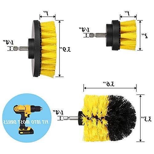 Drill - Scrubber Brush Cleaning Purpose Bathroom Surfaces, Floor, Tub, Kitchen, - Fits Most