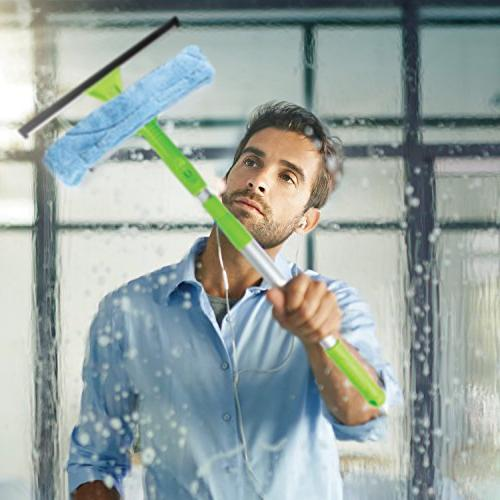 Telescopic Cleaning with Super and Pole, All-In-One 5 Microfiber Soft Rubber Best Windows