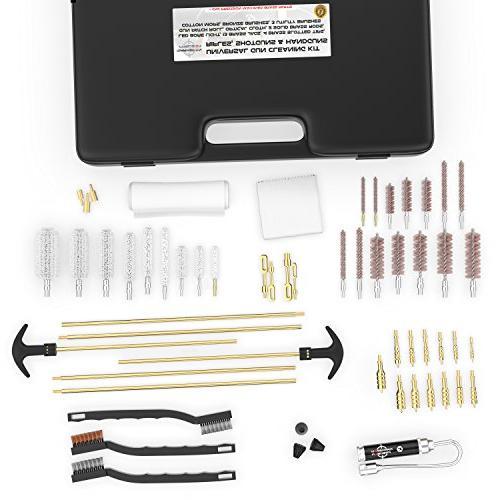 Marksman Gun Cleaning Kit Brass Jags - Slotted Tips - Rods Brushes Light | Optical | Pistol Shotgun Portable Case