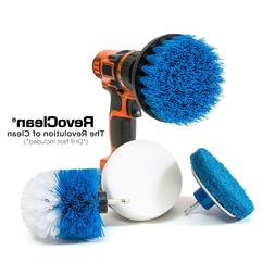 RevoClean 4 Piece Scrub Brush Power Drill Attachments-All Pu