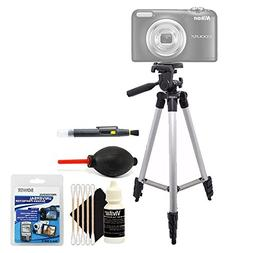 Tall Tripod + Cleaning Accessory Kit for Nikon Coolpix P610